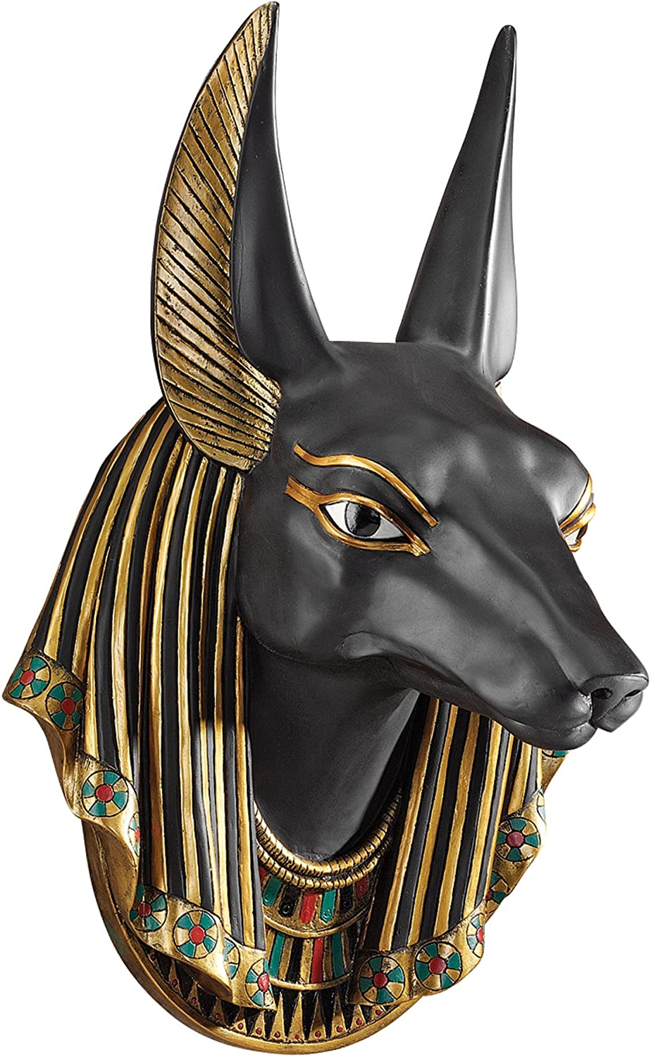Design Toscano CL52612 Anubis the Jackal God Wall Egyptian Wall Sculpture, 15 Inch, Polyresin, Black and Gold