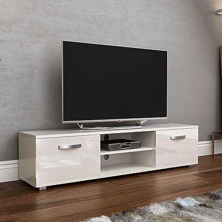Vida Designs Cosmo TV de 2 Puertas, Moderno, Brillante, Mate, para Sala de Estar, Mueble de 160 cm, Color Blanco, 160cm-No LED Lights: Amazon.es: Hogar