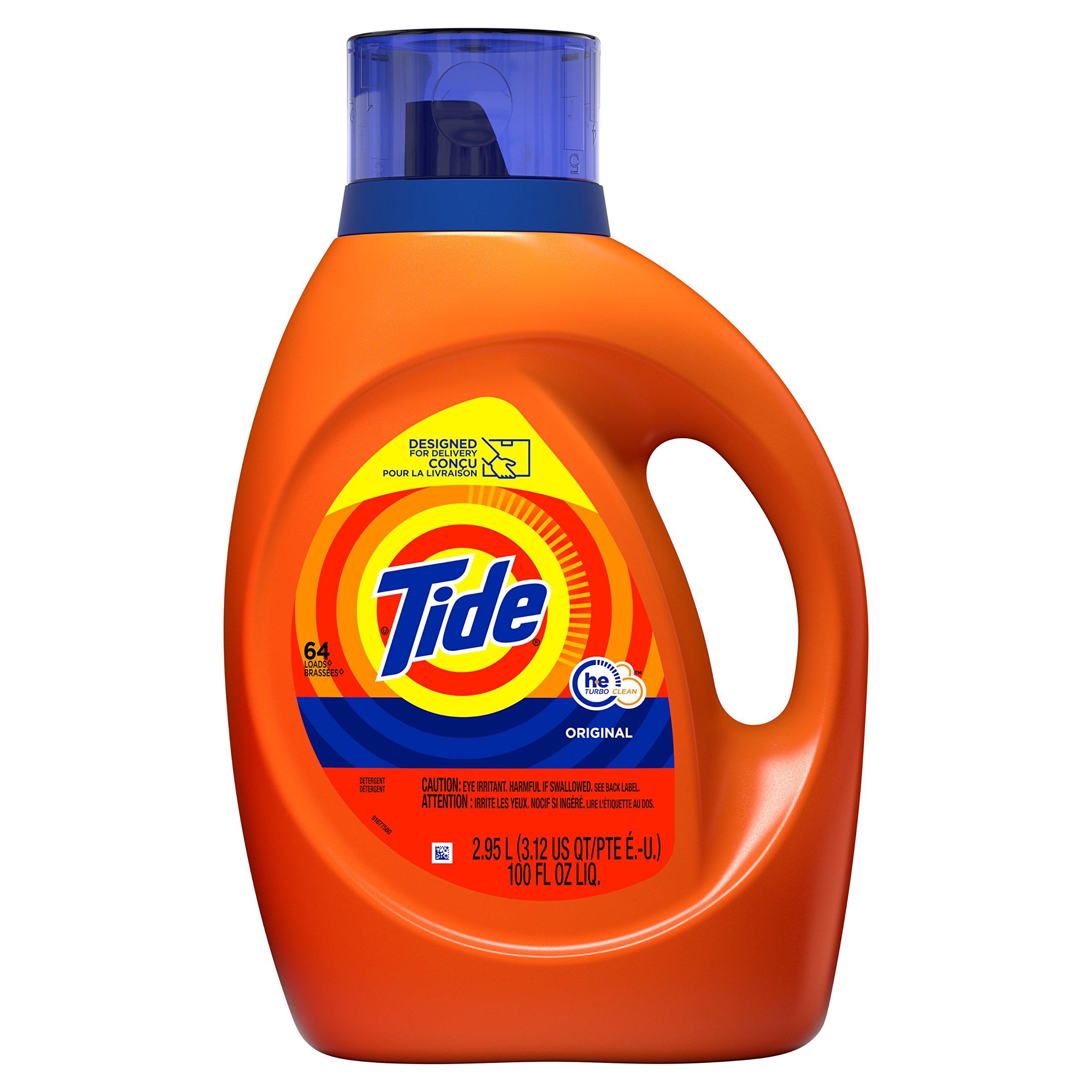 Tide Laundry Detergent Liquid, Original Scent, HE Turbo Clean, 100 oz, 64 Loads by Tide