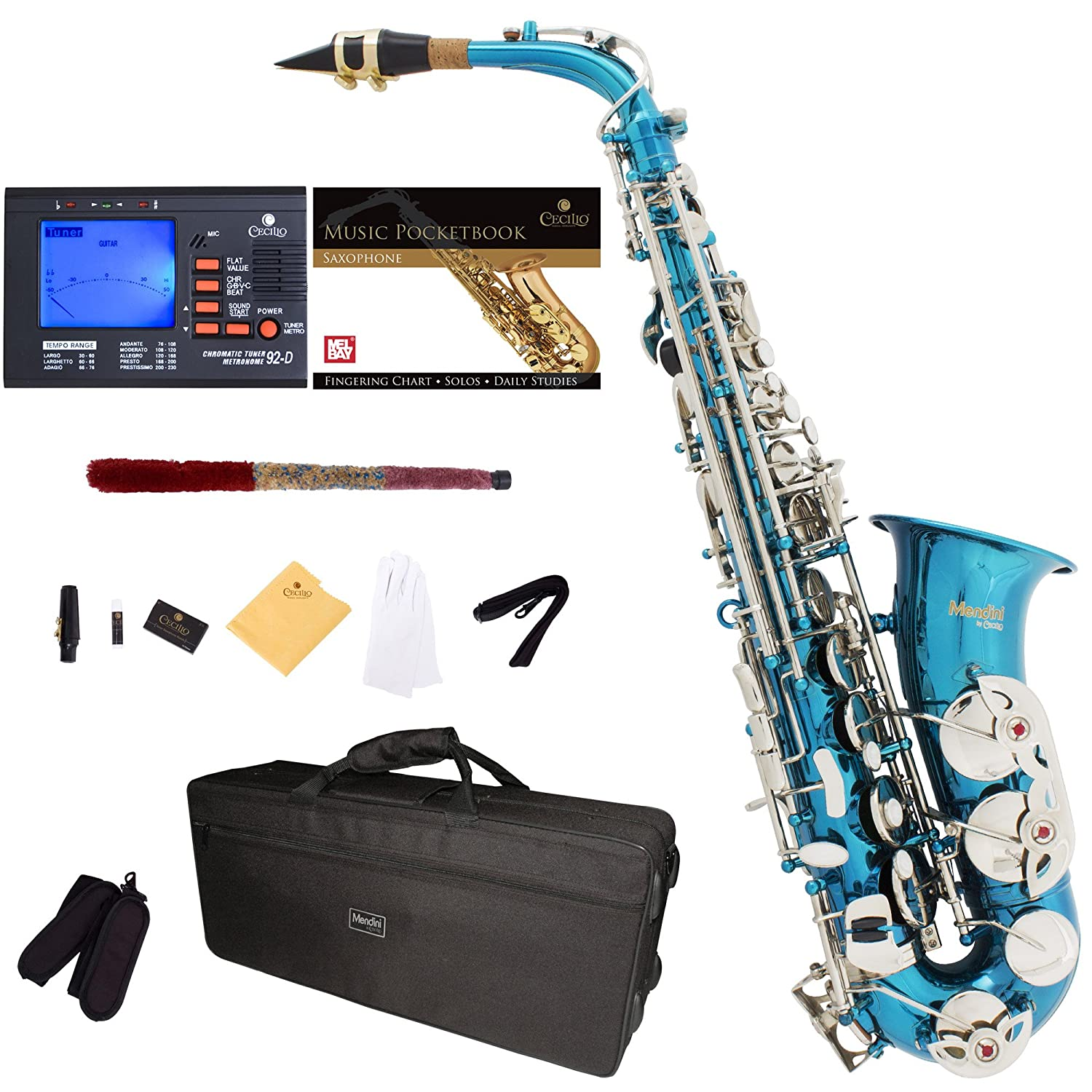 Mendini by Cecilio MAS-N+92D+PB Nickel Plated E Flat Alto Saxophone with Tuner, Case, Mouthpiece, 10 Reeds and More Cecilio Musical Instruments
