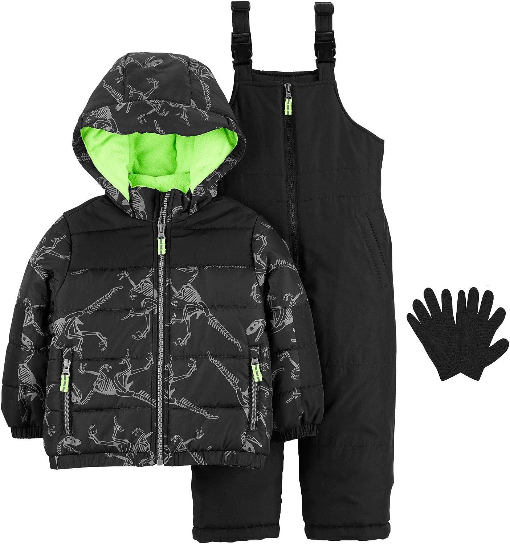 Carters Boys 4-7 Snowsuit Heavy Winter Jacket and Snow Bib Pants Mittens Gloves