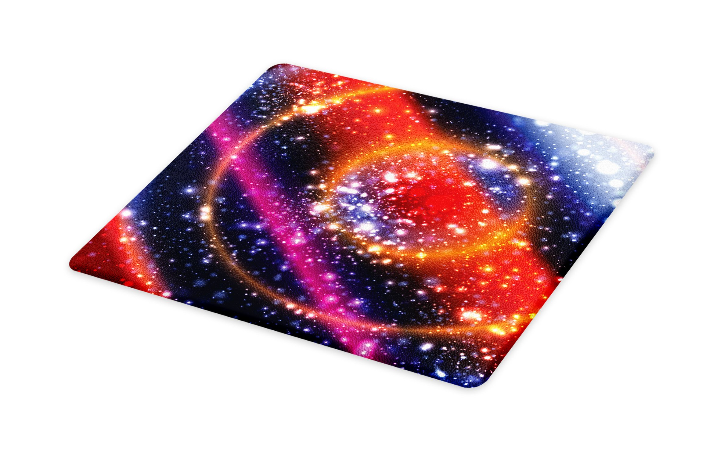 Ambesonne Space Cutting Board, Apocalyptic Cosmos Design Circular Striped Vibrant Galaxy Mystic Sky Solar System, Decorative Tempered Glass Cutting and Serving Board, Large Size, Multicolor