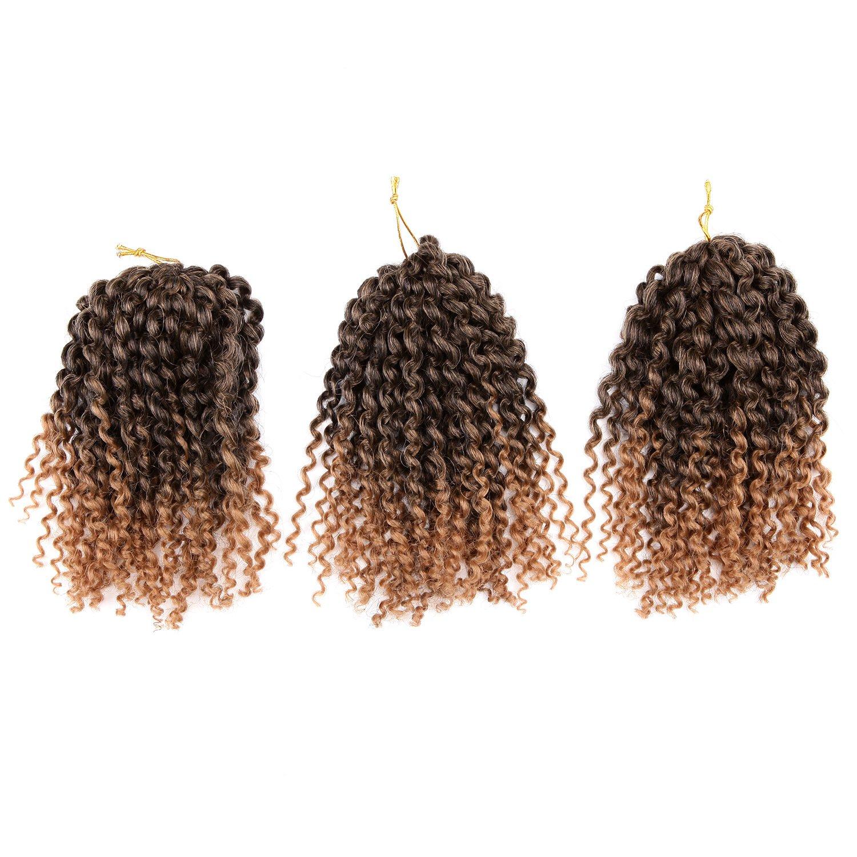 Lot de 3 extensions de cheveux synthétiques - 20 cm - Cheveux frisés, afro, bouclés bouclés SIMAKE