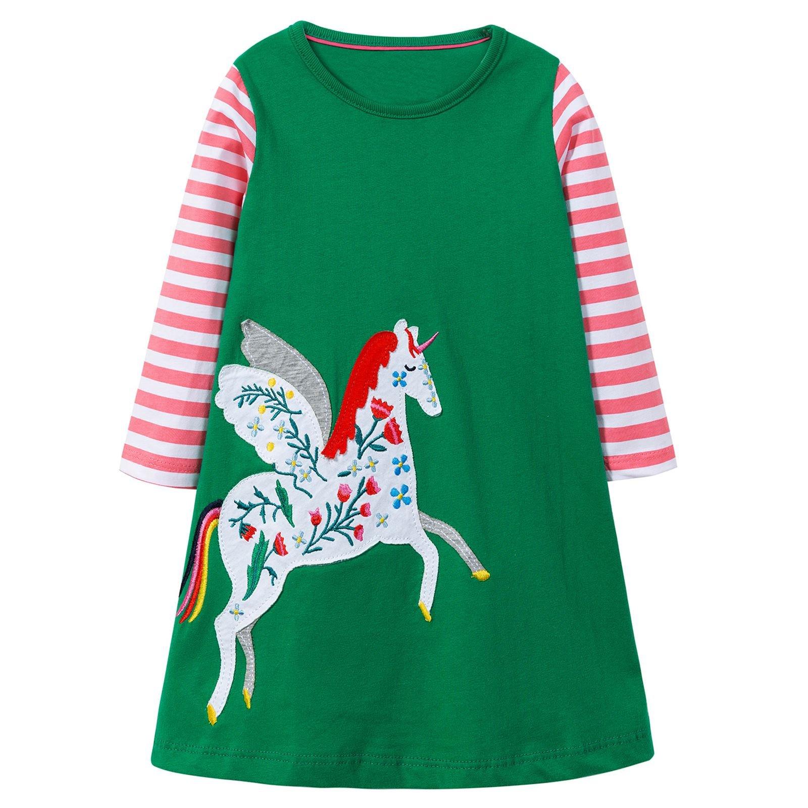 VIKITA Toddler Girl Long Sleeve Unicorn Loose Dress Baby Girls Winter Birthday Dresses Great Gift JM7666, 4T