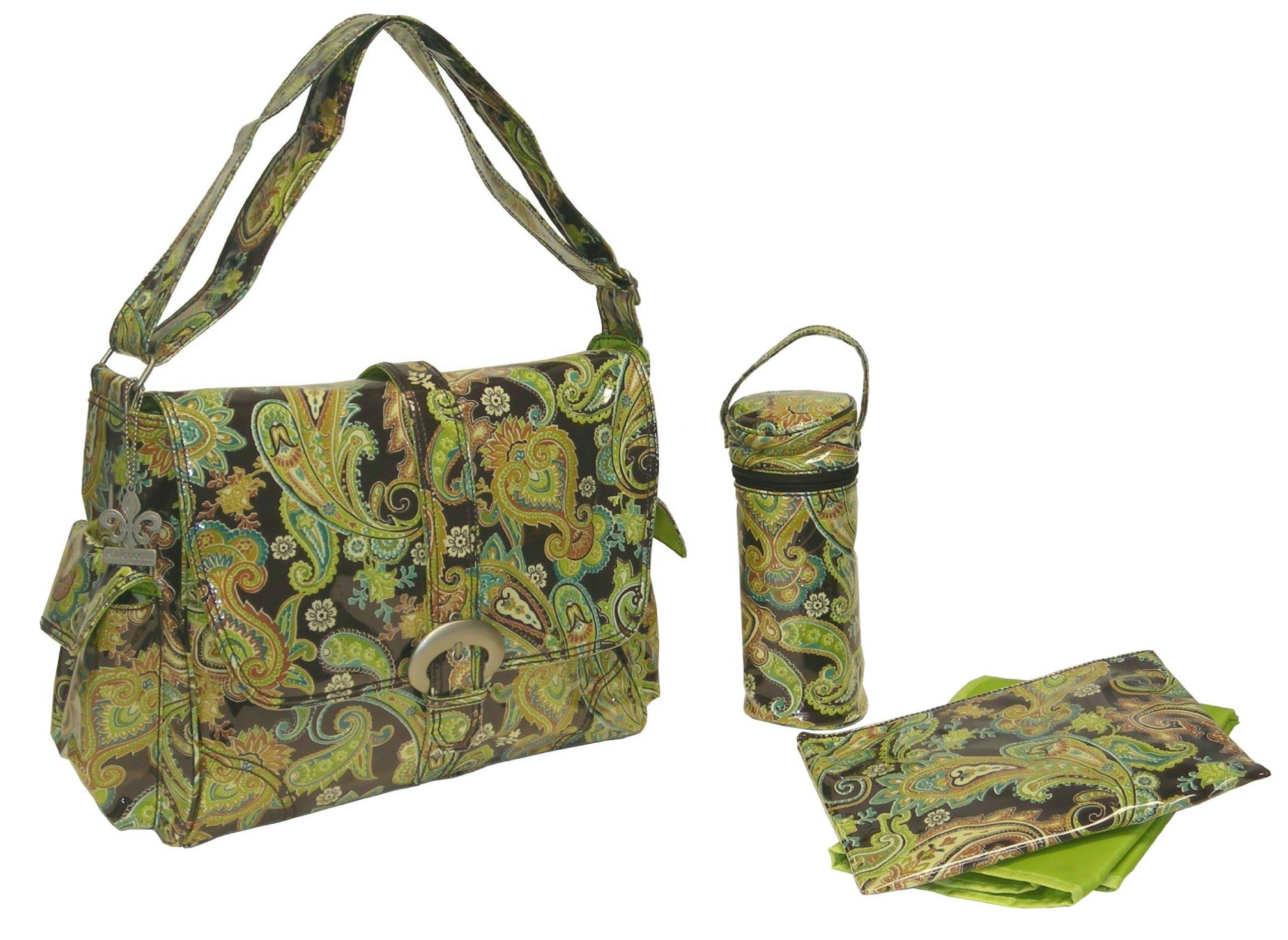 Kalencom Laminated Buckle Bag, Multi Paisley Pistachio