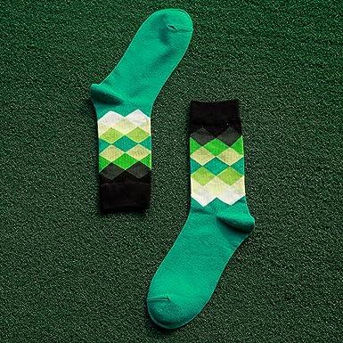 Amazon.com: Mens Socks British Style Plaid Calcetines Elite Long Cotton Socks For Happy Black&green: Clothing