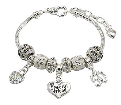 76eb7c618 Special Friend 50th Birthday Charm Bracelet with Gift Box Women's Jewellery:  Jewellery Hut: Amazon.co.uk: Jewellery