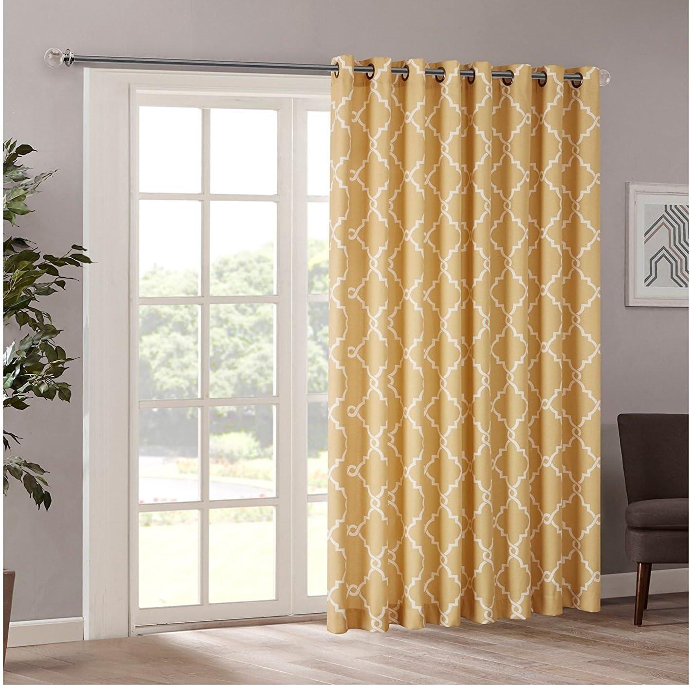 1Pieza 84 color amarillo geométrico cortina de puerta corredera ...