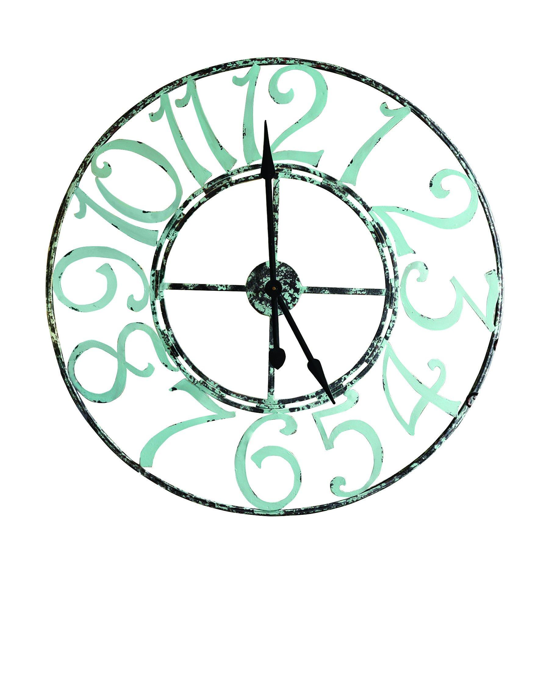 Split P Metal Clock, Spa Blue