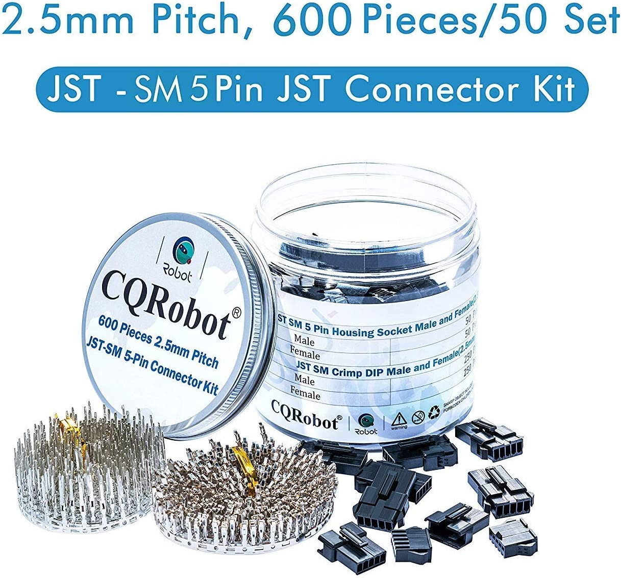 JST Adapter Cable Connector Socket Male and Female. JST Connector Kit//Crimp DIP Kit 2.5mm Pin Pitch 600 pcs JST-SM-5-Pin Pin Housing Male and Pin Housing Female