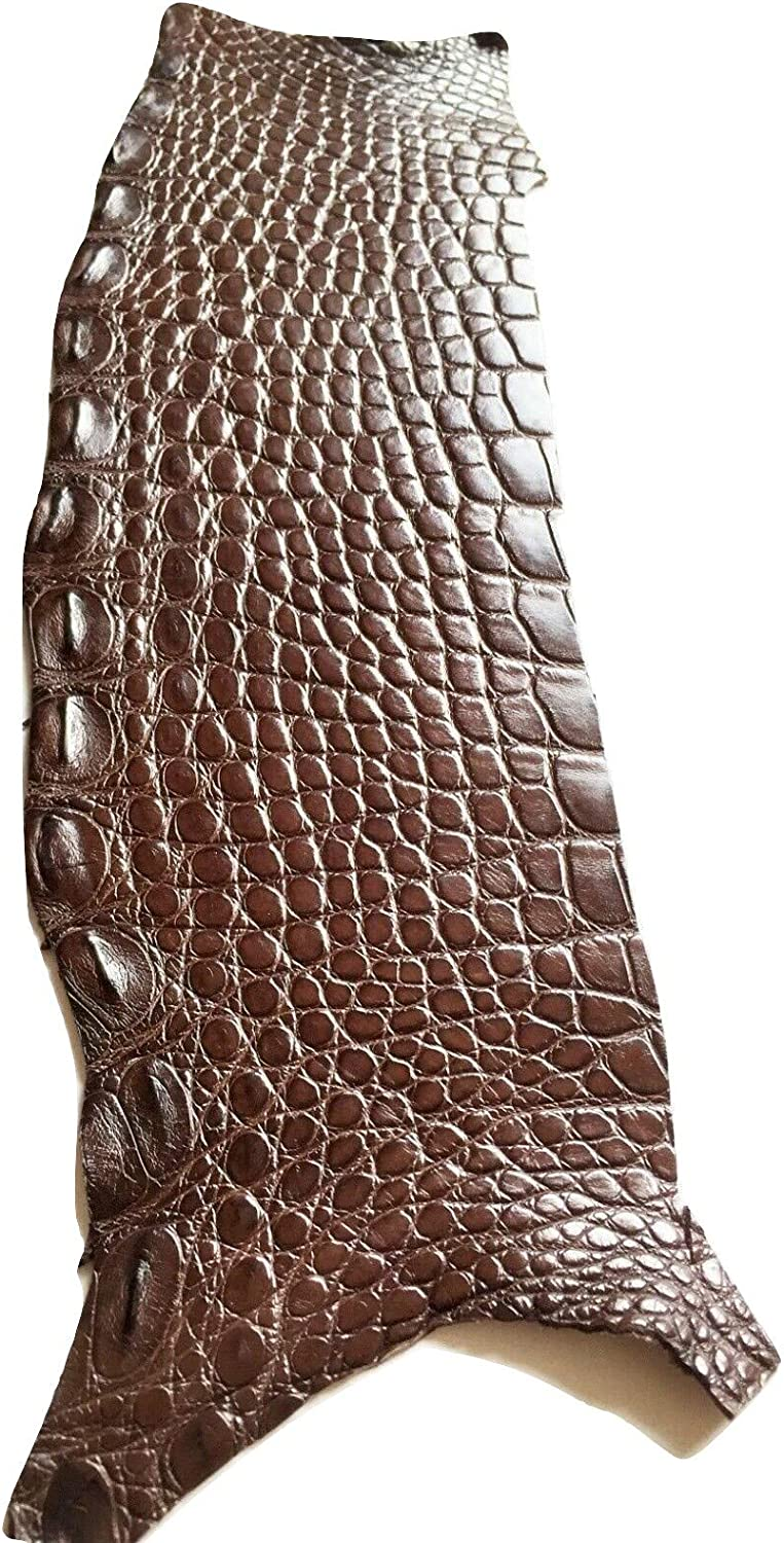 Authentic Crocodile Remnants Piece Leather Hide Craft Supply Single One Brown