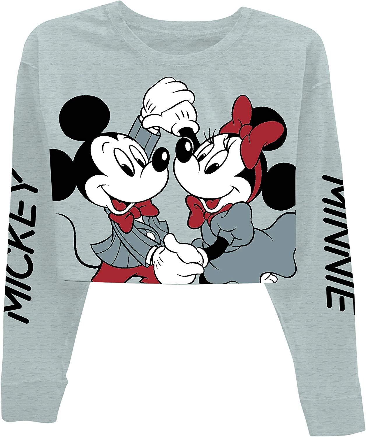 Disney Ladies Mickey Mouse Fashion Shirt Mickey Mouse Cropped Crewneck with Sleeve Print
