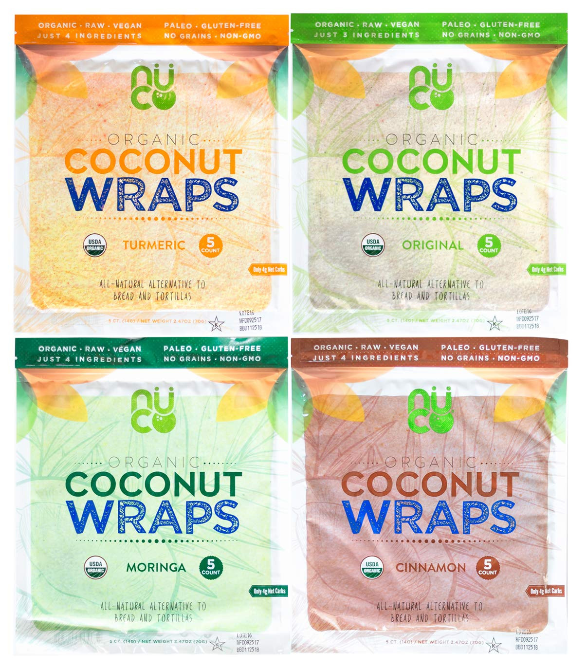 NUCO Organic Coconut Wraps Variety Pack: Original, Turmeric, Moringa, and Cinnamon (20 wraps total) by Nucoconut