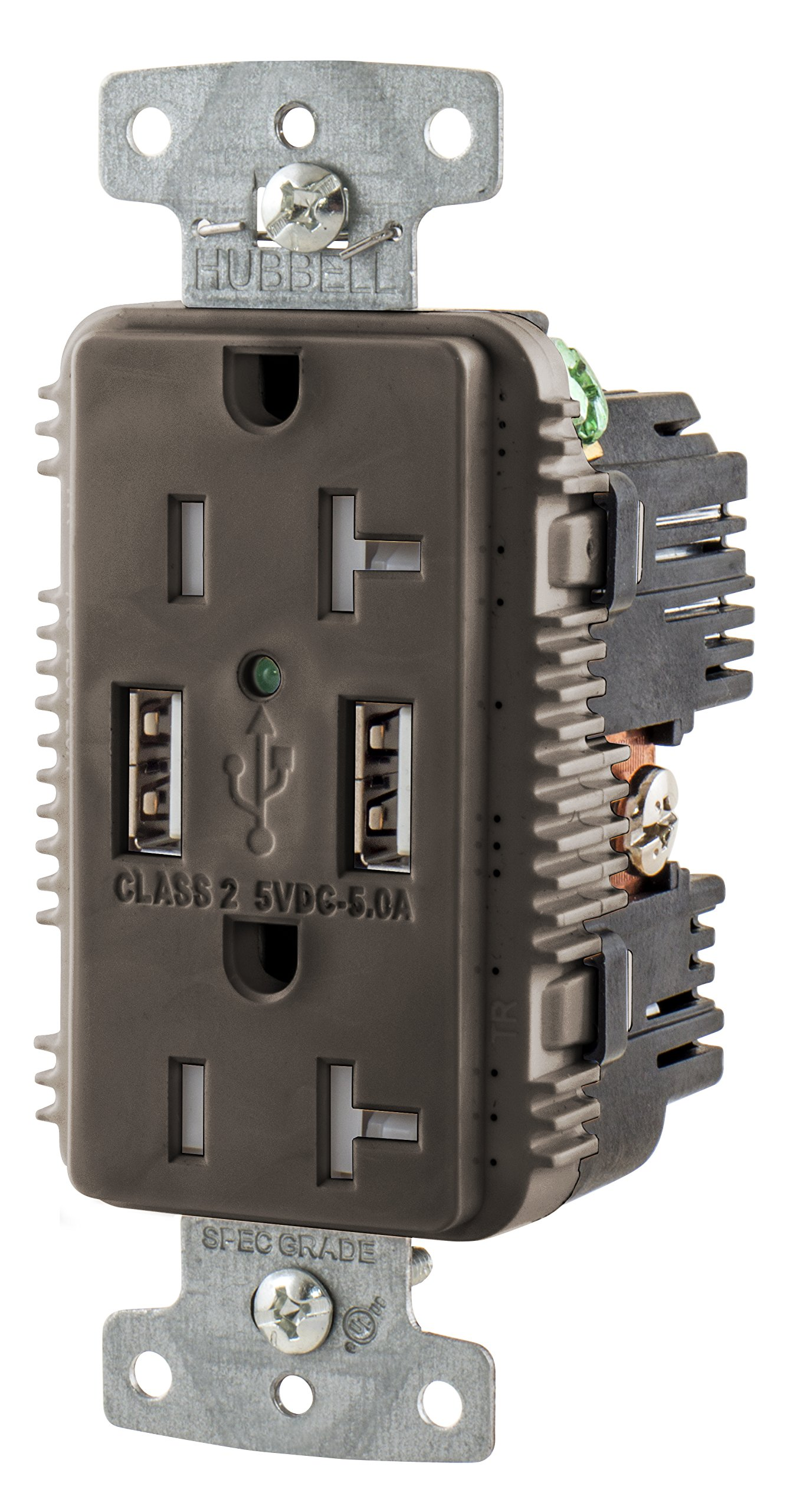 Bryant Electric USBB20A5 5.0 Amp Mega High Speed Dual Type A USB Charger Outlet, 20 Amp 125 Volt Tamper Resistant Duplex Receptacle, Brown