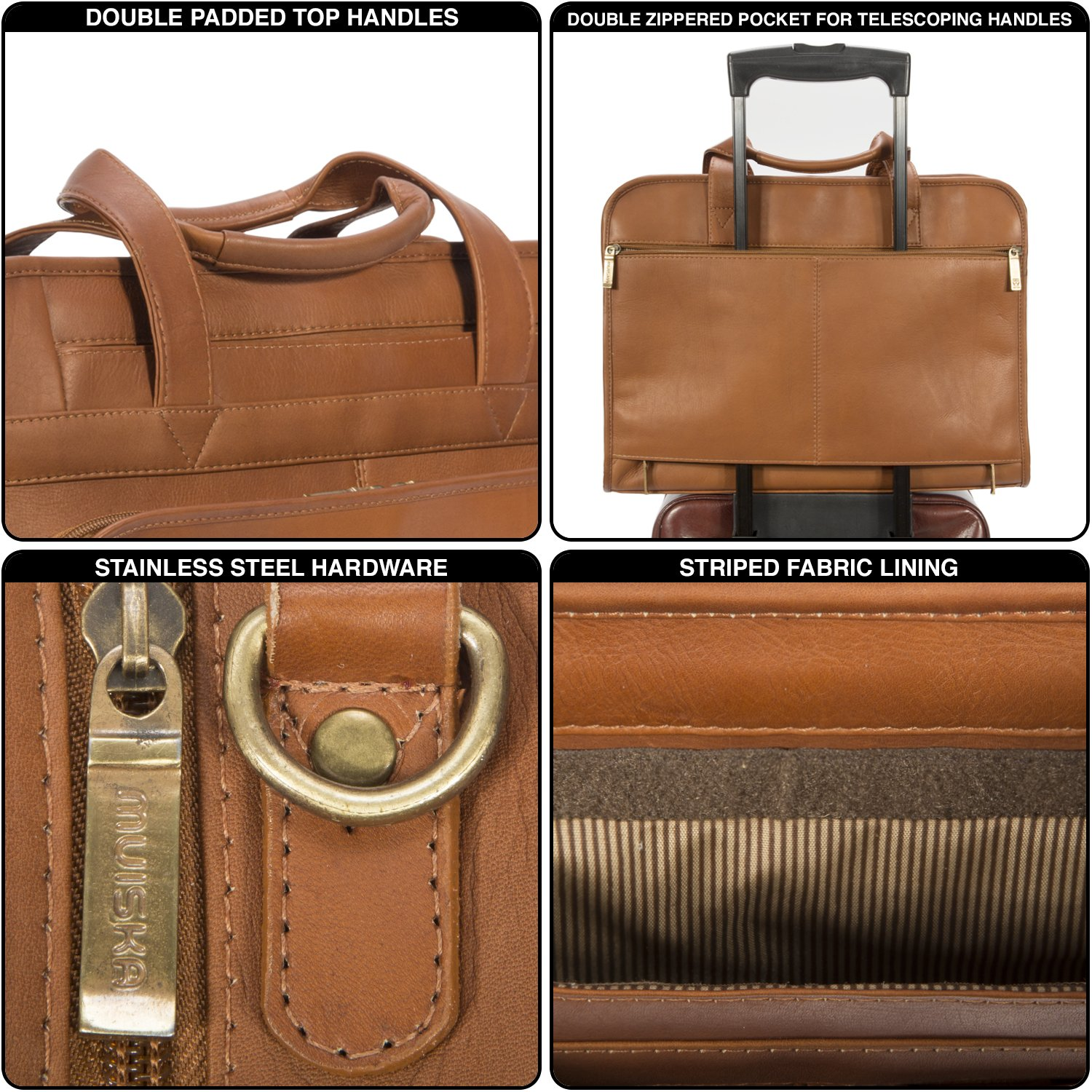 Muiska Leather Top-Zip 17 Inch Laptop Briefcase, Saddle, One Size by Muiska (Image #5)