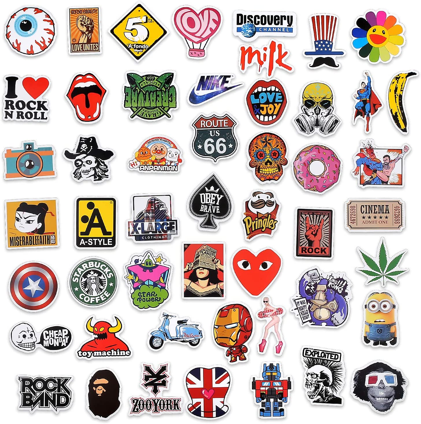 Suitcase Cartoon Vsco Stickers for Kids Teens Adults Motorcycle Waterproof Decals Vinyls for Phone Laptop EKKONG 100PCS Graffiti Stickers Pack Skateboard Bicycle A Style Cars