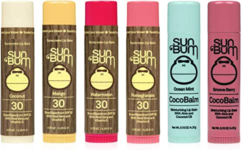 Sun Bum Original SPF Lip Balm | Coco Balm Variety 6 PK (Coconut, Watermelon, Pomegranate, Mango, Ocean Mint, Groove Berry)