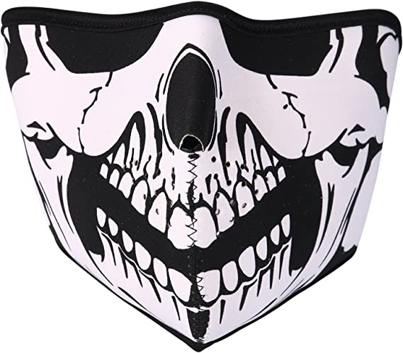 JewelryWe Neopren Biker Motorcycle Snowboard Skull Face Mask Balaclava Ski Mask
