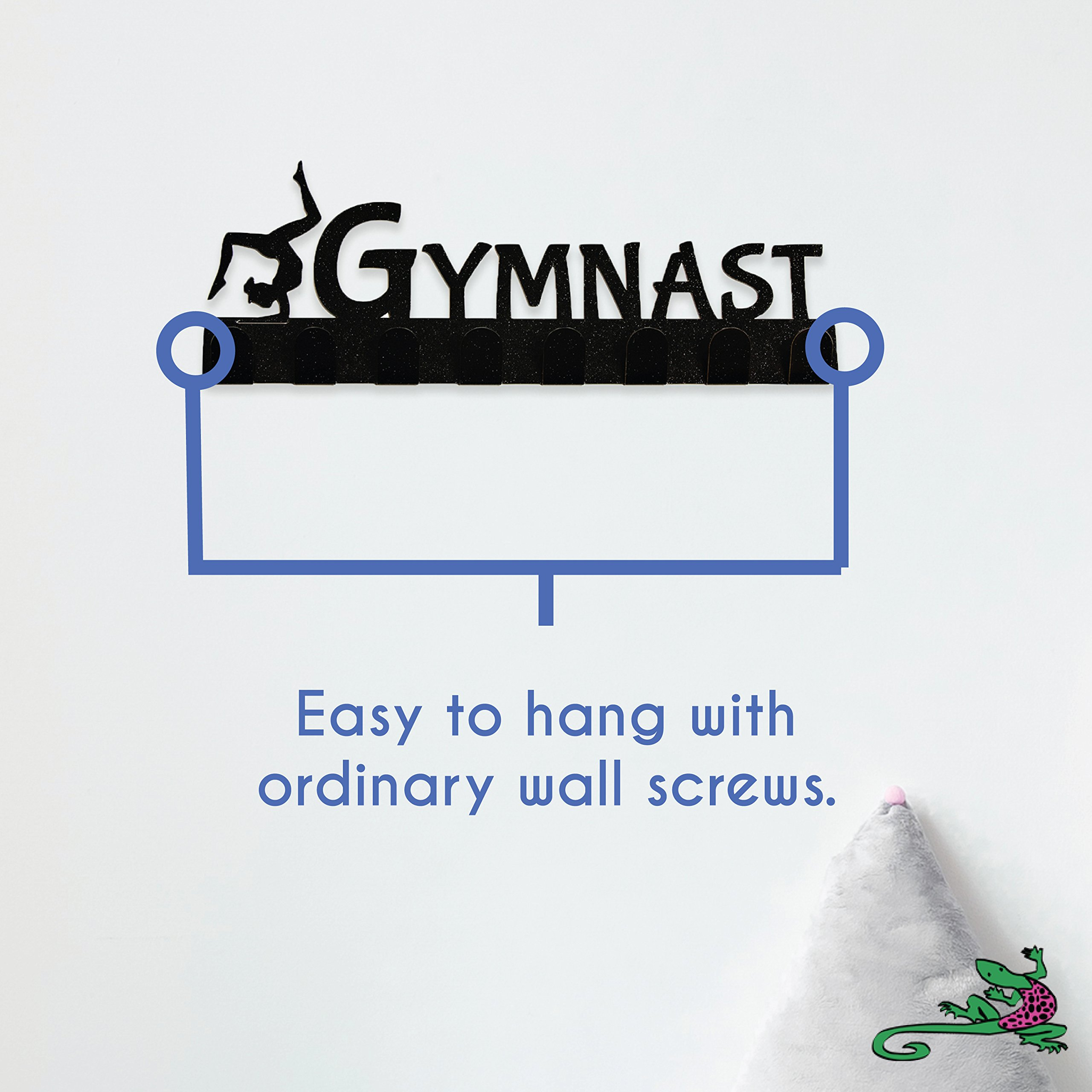 Lizatards Gymnastics Medal Display Rack & Holder with 8 Hooks in Black Sparkle Finish by Lizatards (Image #6)