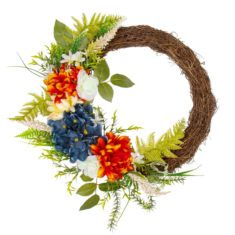 KI Store Summer Wreath for Front Door Half Floral Wreath Patriotic Wreath with US Flag for Door Window 18-inch