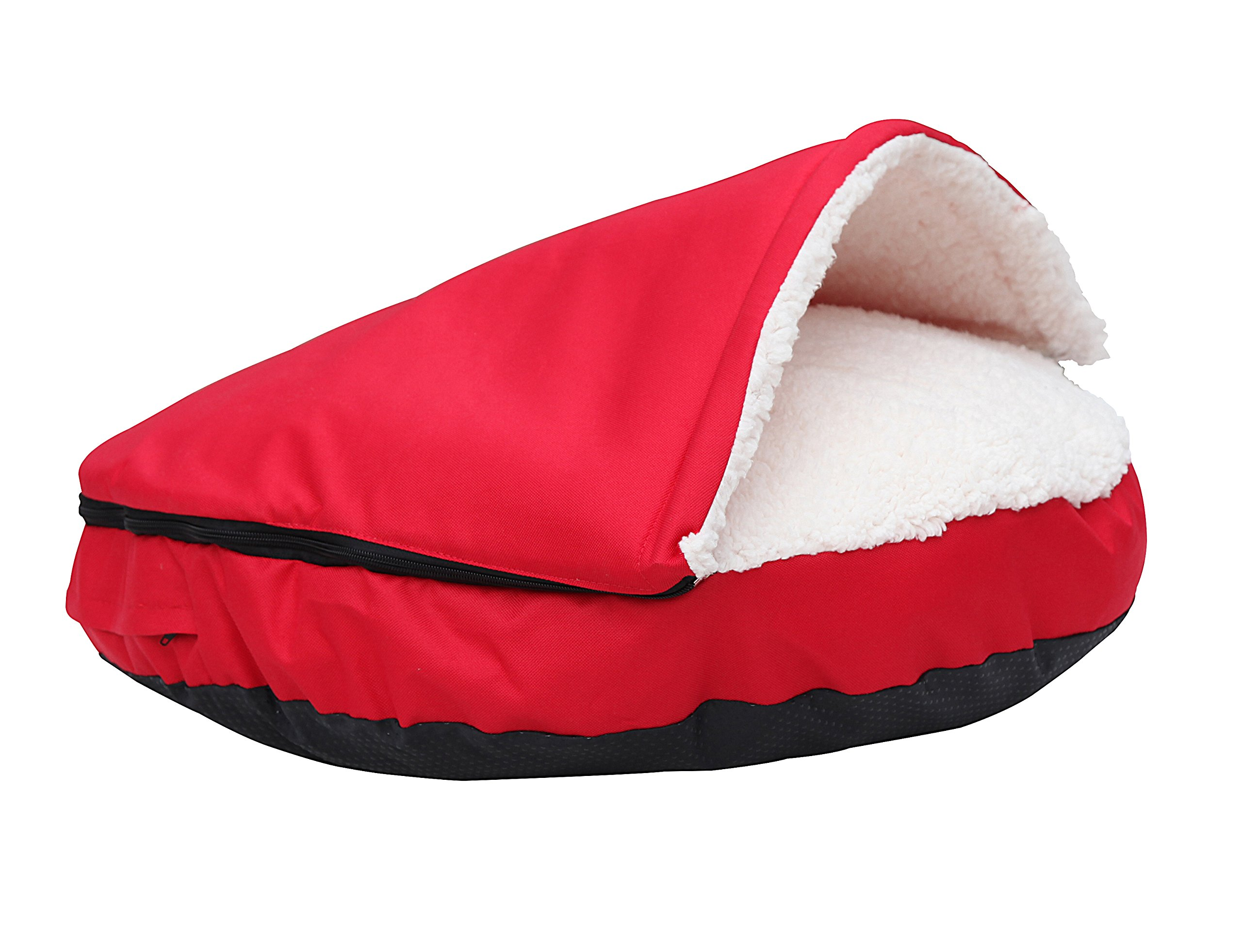 HappyCare Textiles Durable oxford to Sherpa Pet Cave and Round Pet Bed, 25'', with removable top and insert