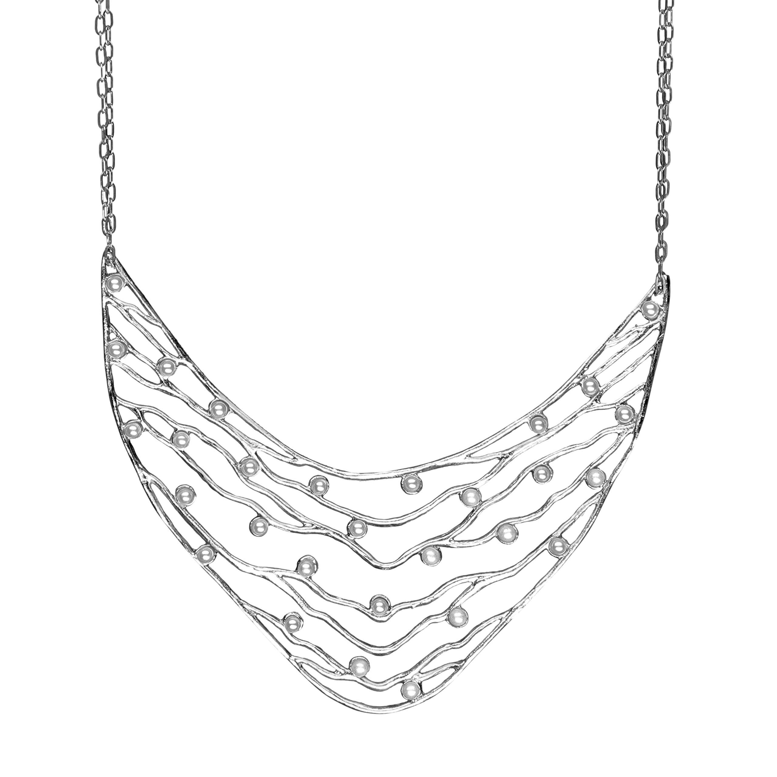 Intricate Branches Pearl Collar Necklace (Silver Plated, Simulated Pearls) by Mercedes Shaffer
