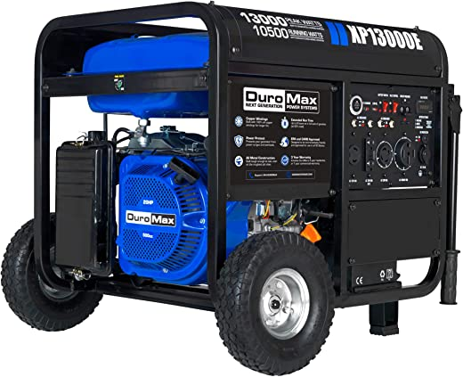DuroMax XP13000E Gas Powered Portable Generator-13000 Watt Electric Start-Home Back Up & RV Ready, 50 State Approved, Blue/Black