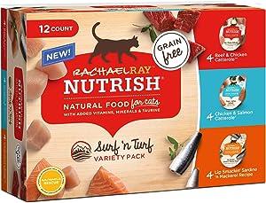 Rachael Ray Nutrish Natural Grain Free Surf 'n Turf Variety Pack Wet Cat Food, 2.8 oz., Pack of 12