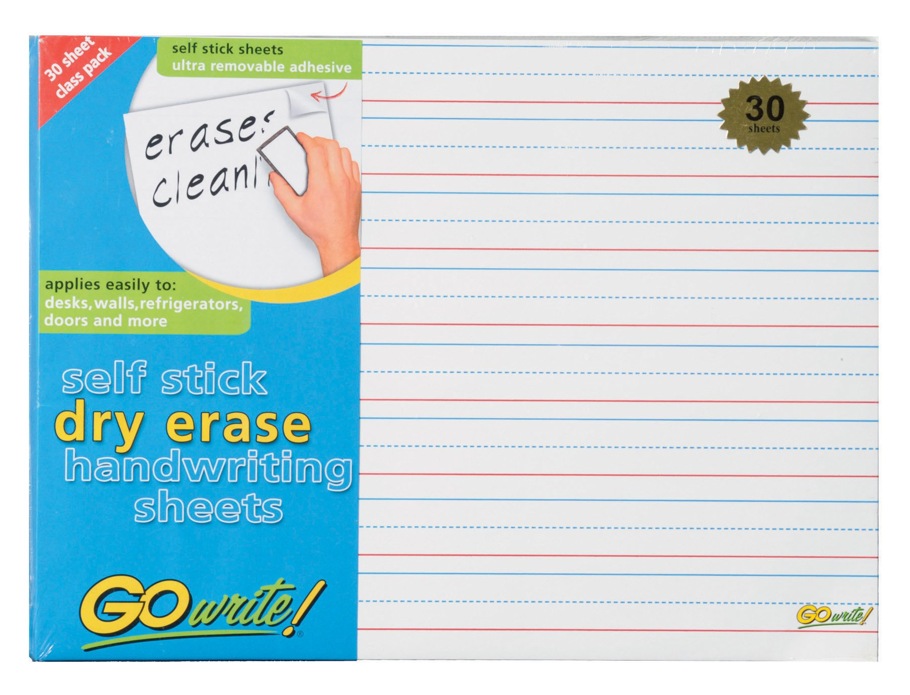 GoWrite! Dry Erase Self-Adhesive Handwriting Sheets, 11-Inches by 8.25-Inches, 30 Pack (ASB8511LN)