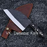 Handmade Carbon Steel Serbian Cleaver Chopper Kitchen Chef Knife Micarta Handle comes with Leather Sheath DWA2185