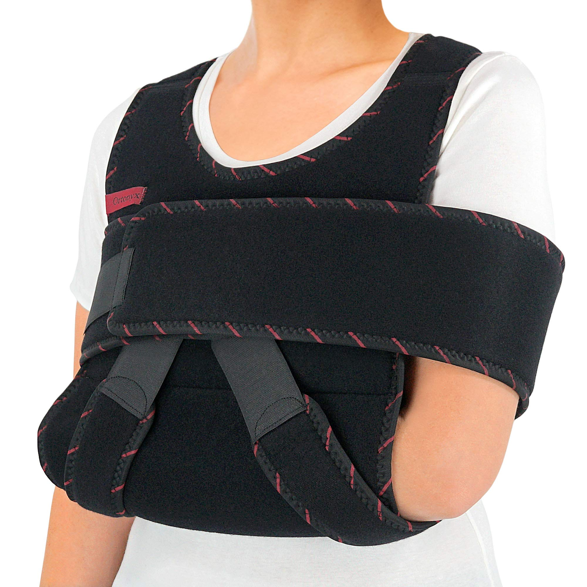 ORTONYX Arm Sling Shoulder Immobilizer Brace - Adjustable Rotator Cuff and Elbow Support - for Men and Women - Fits Left and Right Hand - Extra Immobilizer Band Provides Extra Protection/Large-XXL by ORTONYX