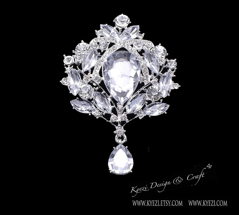 Kyezi Design and Craft Silver Crystal Rhinestone Drop Brooch Wedding Flower Bouquet Party Decoration