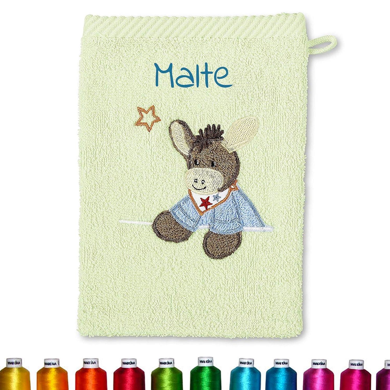 Waschlappen personalisiert zur Geburt Edda Ente Creme//Ecru Taufe oder als Geschenk zum Geburtstag Sterntaler Kinder//Baby Ente Waschhandschuh bestickt mit Namen