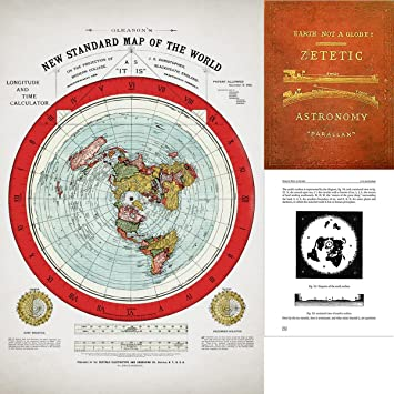 Amazoncom Flat Earth Map  Gleasons 1894 New Standard Map Of
