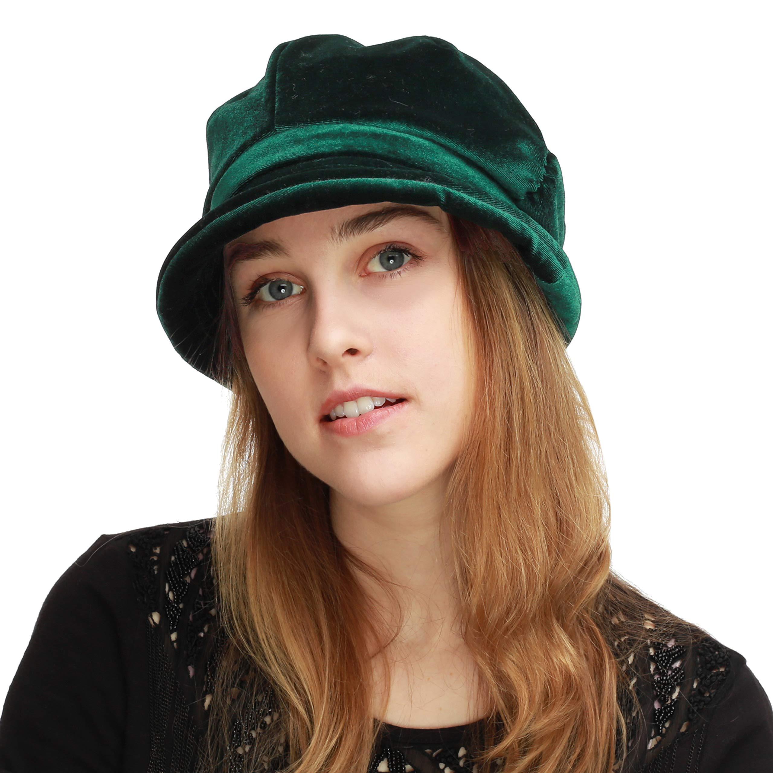 BLACK HORN Womens Newsboy Cabbie Beret Cap Cloche Visor Hats (Velvet-Green)