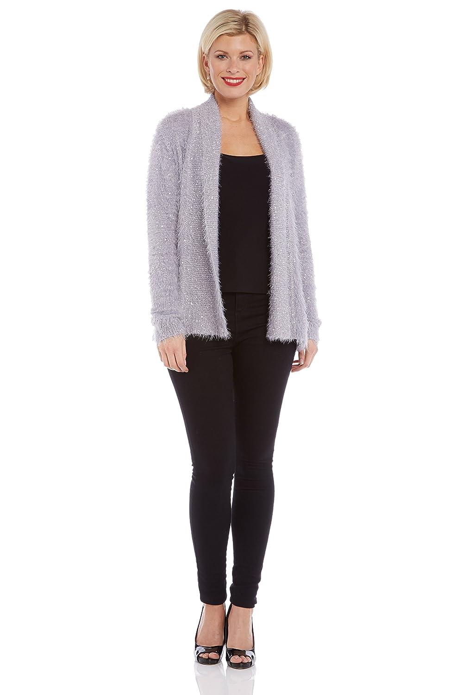 Womens Sequin Fluffy Cardigan - Ladies - Grey - Size 10 - 20 ...