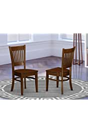 East West Furniture VAC-ESP-W Vancouver dining room chairs - Wooden Seat and Espresso Hardwood Figure dining chair set of 2
