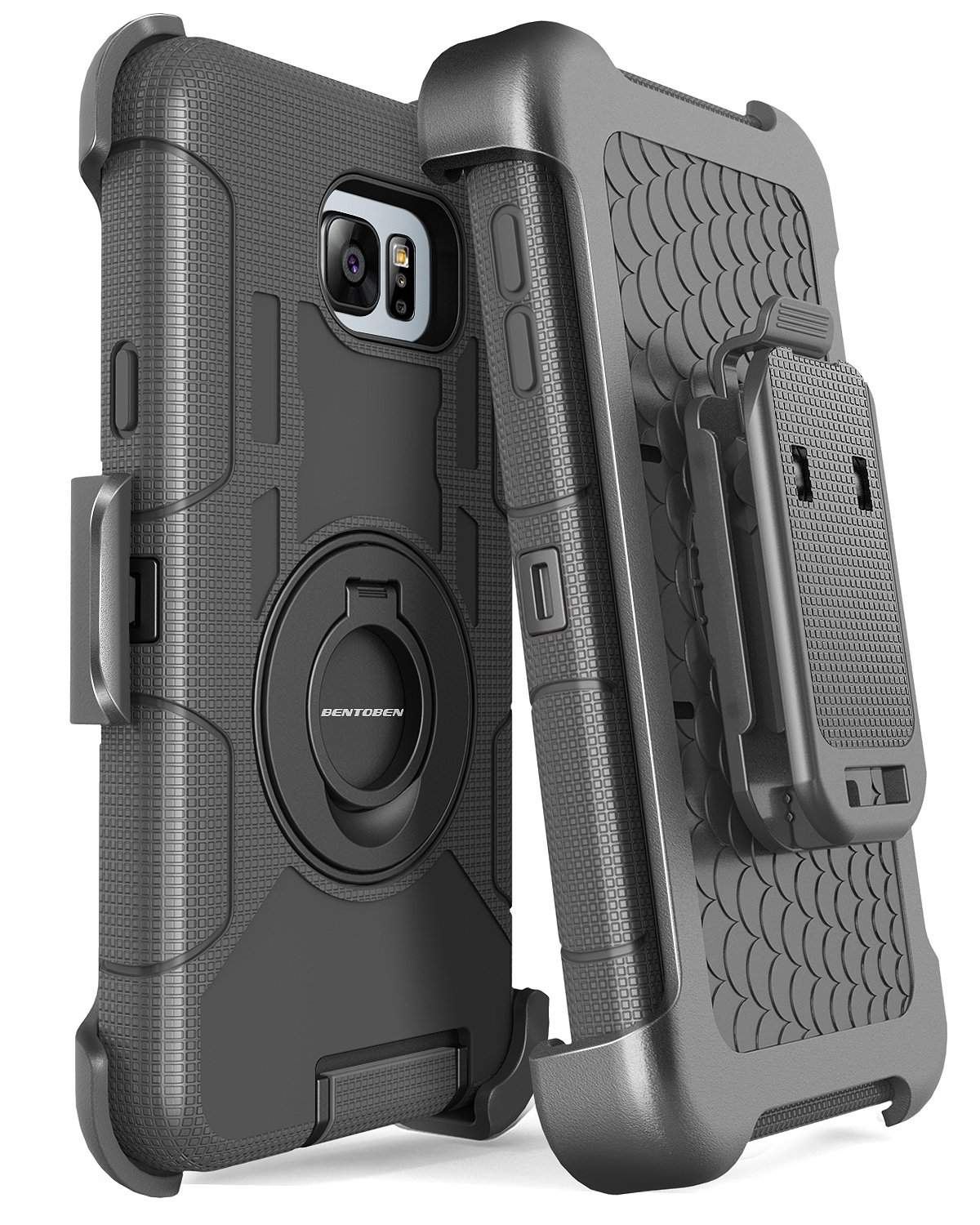 Note 5 Case, Galaxy Note 5 Case, BENTOBEN Samsung Galaxy Note 5 Case Shockproof Heavy Duty Hybrid Full Body Rugged Holster Protective Case for Samsung Galaxy Note 5 with Kickstand + Belt Clip (Black) by BENTOBEN