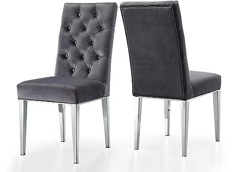 Amazon.com: Meridian Muebles Juno terciopelo silla de ...
