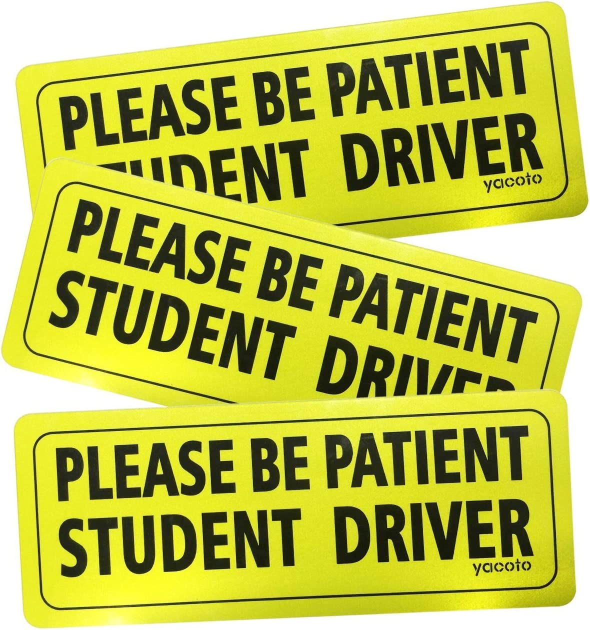 3x Student Driver Magnetic Reusable Safety Caution Bold Visible Text Car Signs