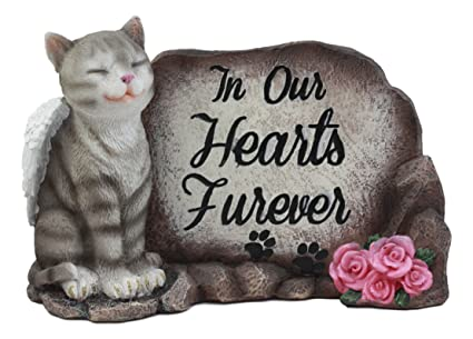Ebros in Our Hearts Furever American Shorthair Grey Cat with Angel Wings Figurine Inspirational Decorative Feline