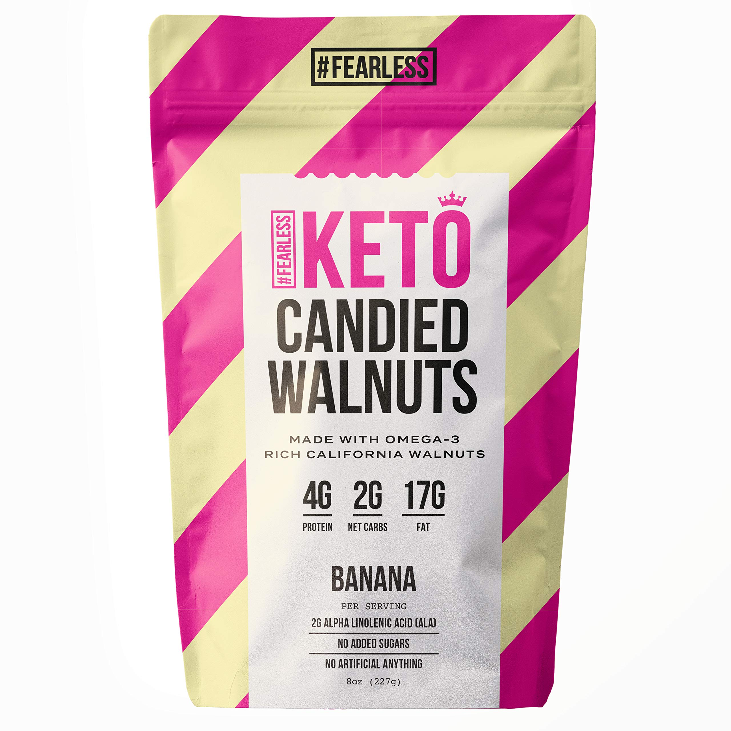 Fearless Keto Small Batch Hand-Roasted Candied Walnuts, 2g Net Carb, High Protein, Monk Fruit Sweetened, Nut Mix, Made with Omega-3 Rich California Walnuts, 8 oz (Banana Flavor) by Fearless Keto