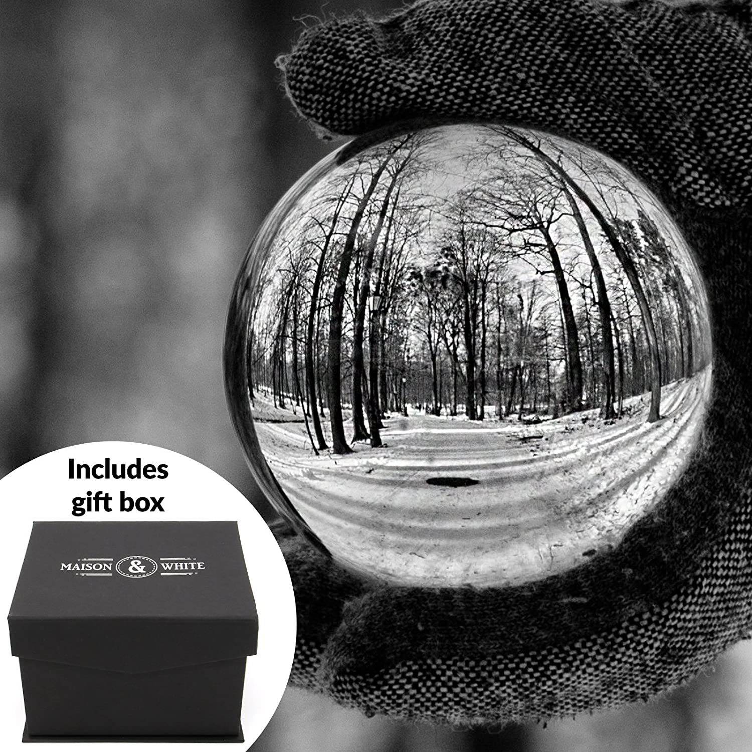 Clear Crystal Ball | 80mm K9 Glass Lens Photo Sphere | Includes Free Gift Box & Stand | For Photography, Decoration, Meditation | Ideal Gift Idea | M&W Xbite