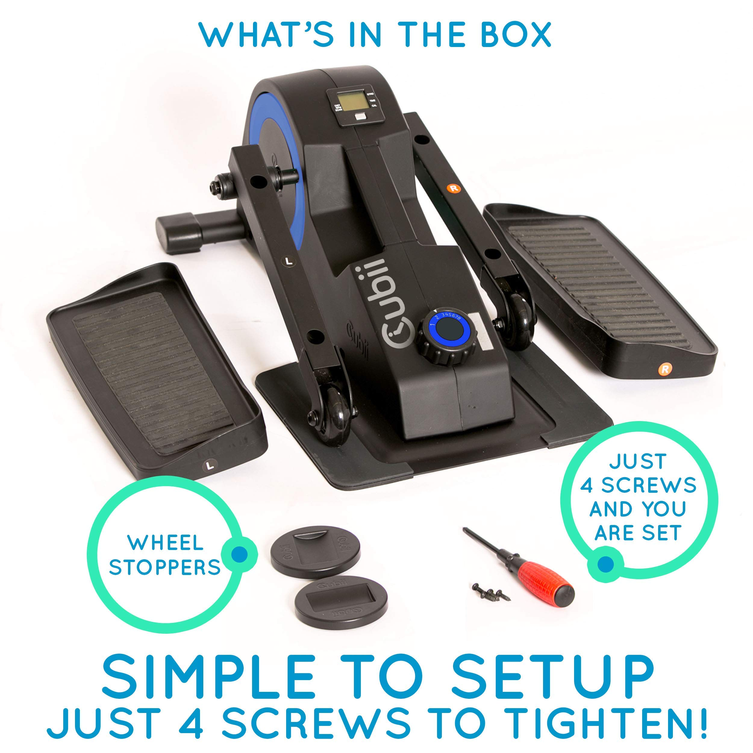Cubii Jr: Desk Elliptical with Built in Display Monitor, Easy Assembly, Quiet & Compact, Adjustable Resistance (Royal Blue) (Renewed) by Cubii (Image #9)