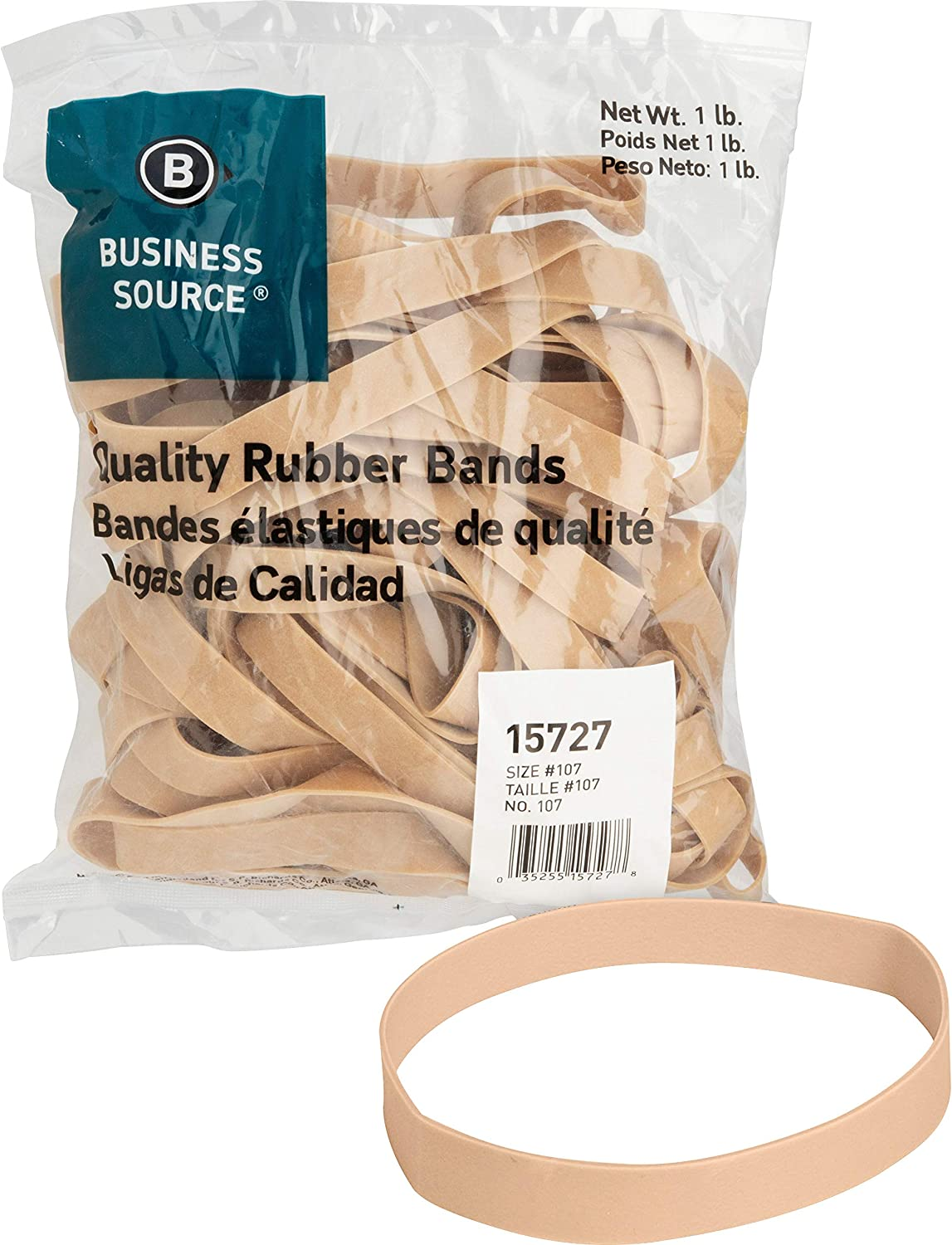 Business Source Size 107 Rubber Bands - 1 lb. Bag (15727), 40 Count