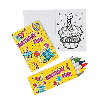 Fun Express - Mini Happy Birthday Activity Sets for Birthday - Stationery - Activity Books - Coloring Books - Birthday - 12 Pieces: Toys & Games