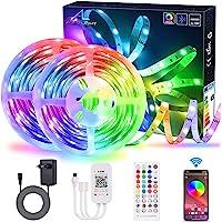 LED-strip Bluetooth 20 m / 65,6 ft met app-bediening, ALED-licht, muzieksynchronisatie, kleurverandering, flexibel, RGB…