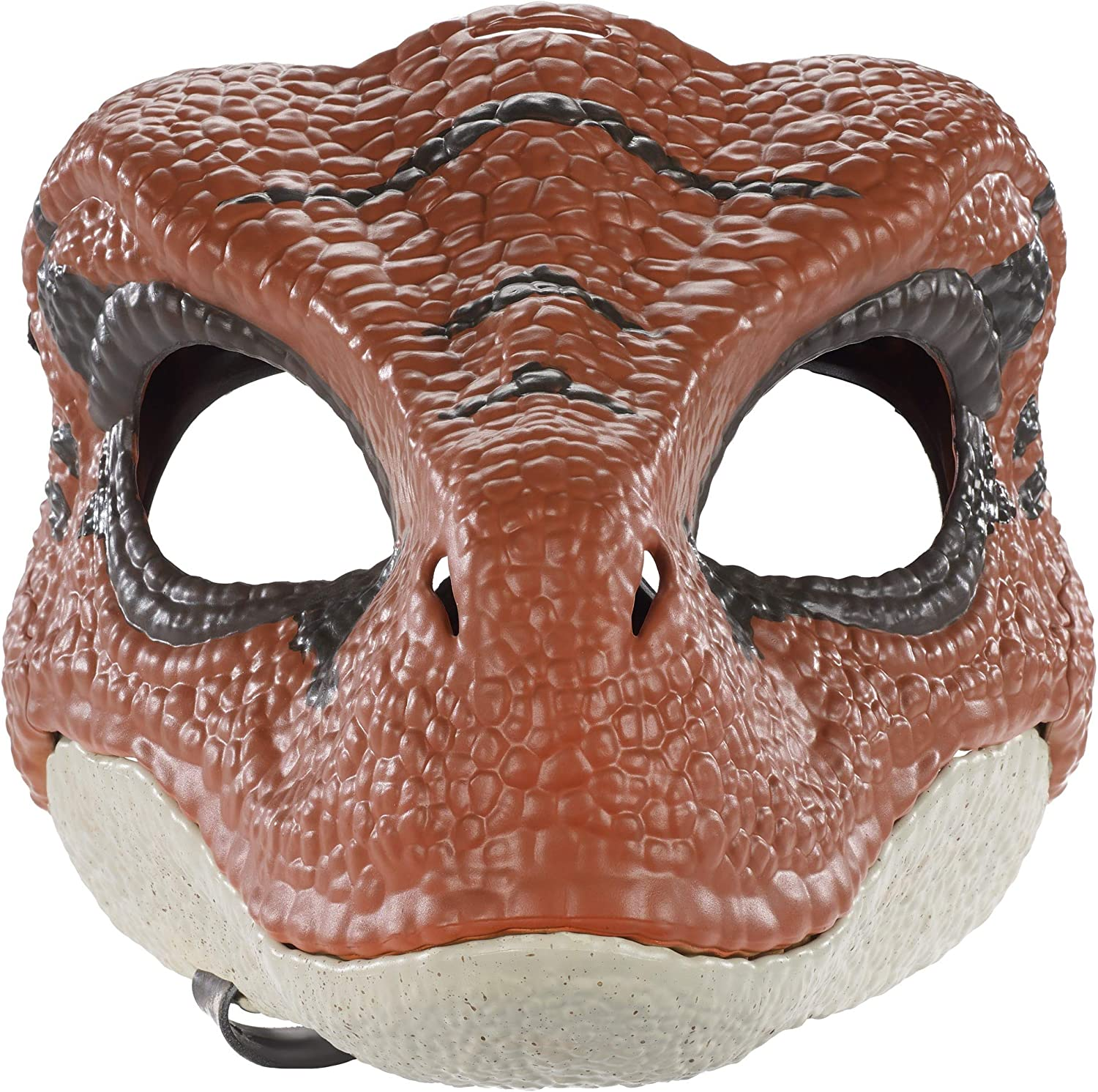 Jurassic World Movie-Inspired Velociraptor Mask with Opening Jaw, Realistic Texture and Color, Eye and Nose Openings and Secure Strap; Ages 4 and Up