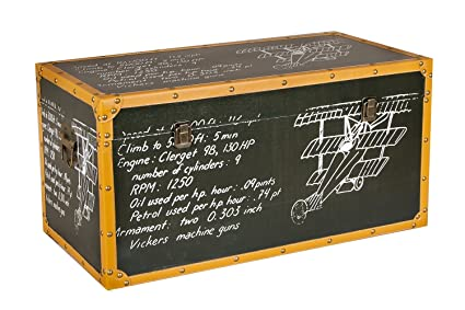 Borras Hnos - Baúl madera cuero pizarra. (Color: decorado Tamaño: 70x35x35)