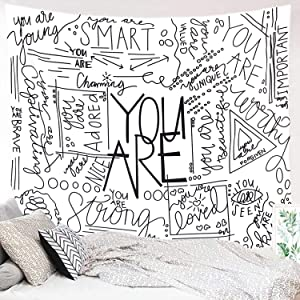 "Miytal Quote You Are Wall Tapestry, Letter Wall Art Positive Saying Wall Hanging Large Wall Paper Décor for Dorm Bedroom Living Room 51.2""x 59.1"""